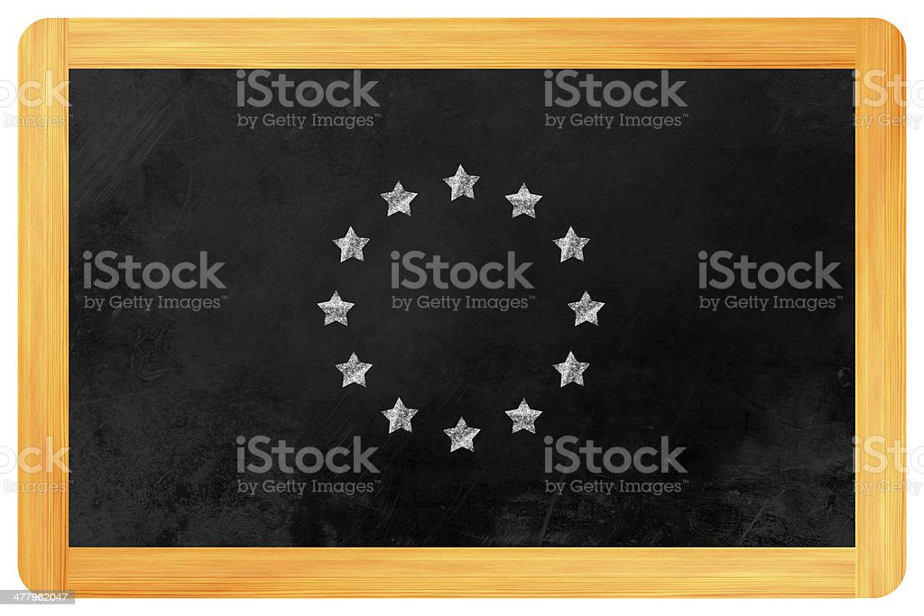 Star circle european flag on blackboard royalty-free stock photo