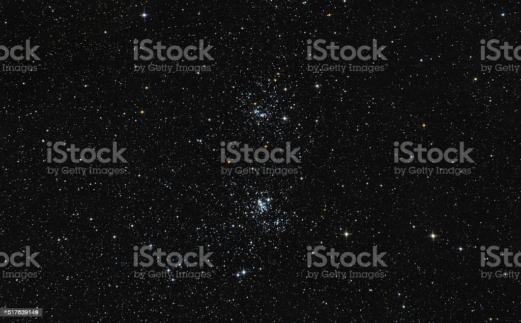 star cluster in the night sky stock photo