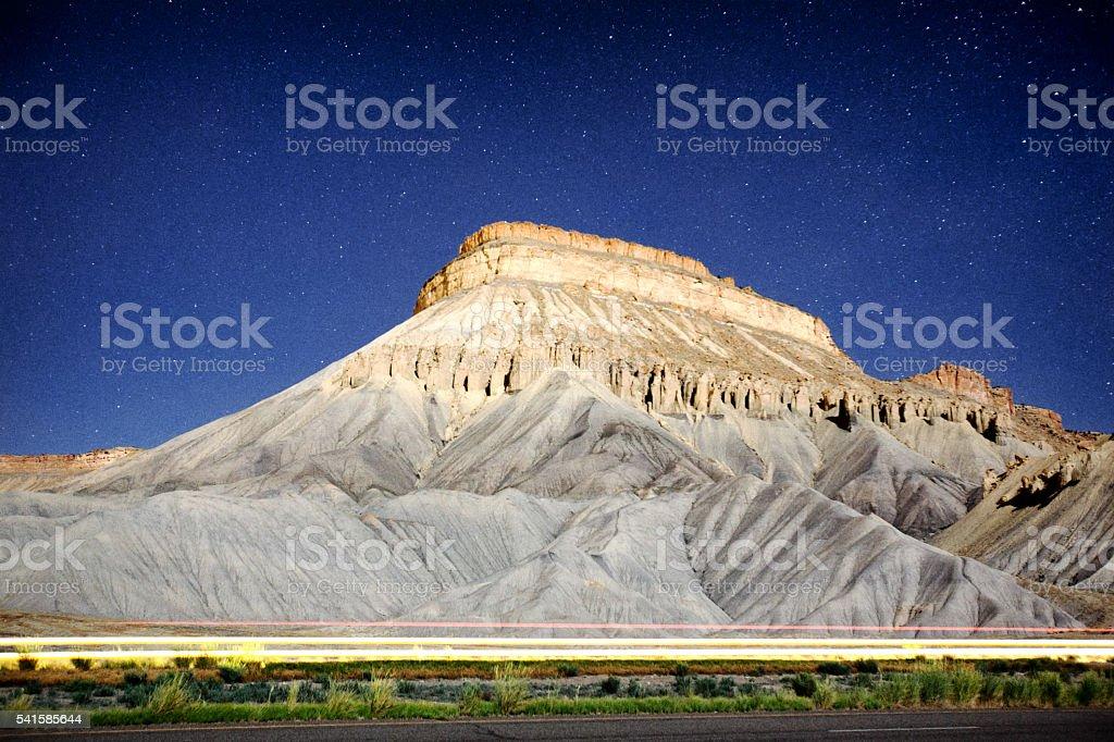 Star Detailed Night Image of Mt. Garfield, Palisade Colorado stock photo