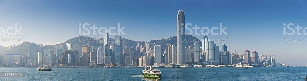 Star Ferry Hong Kong Harbor skyscrapers Victoria Peak panorama China stock photo
