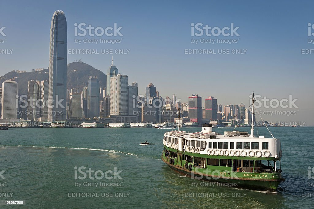 Star Ferry Hong Kong harbour skyscrapers China stock photo