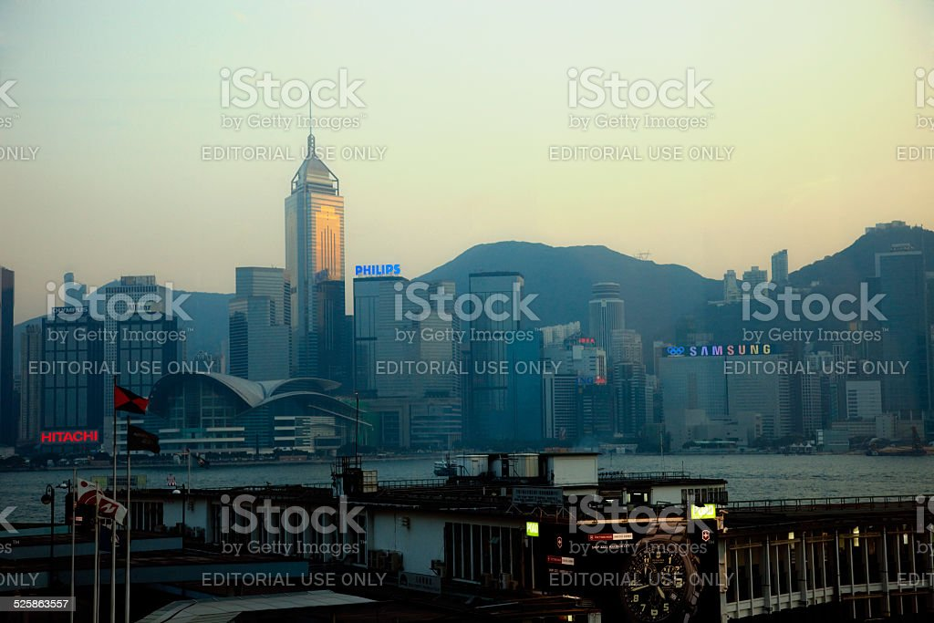 Star Ferry Pier and Skyline of Hong Kong at Dusk stock photo