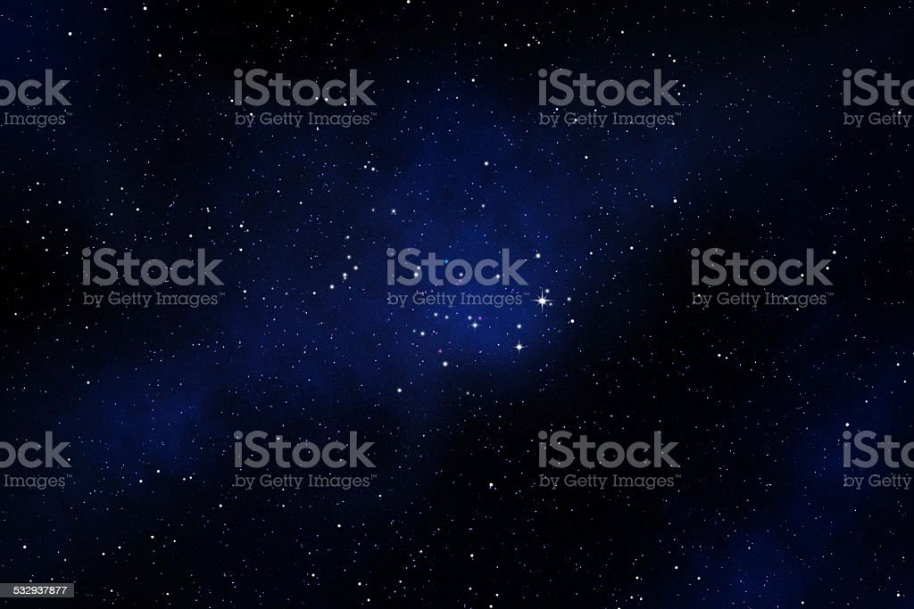 Star field on night black sky with nebula stock photo