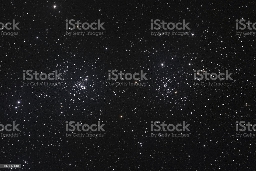 Star field with The Double Cluster stock photo