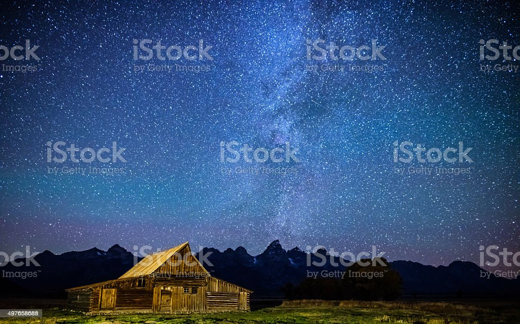 Star filled night over Mormon Row Barn GTNP stock photo