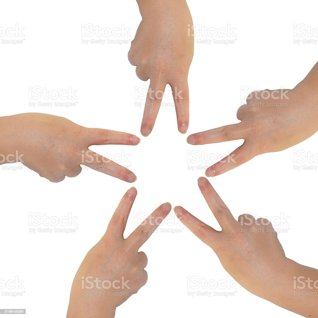 Star from hand stock photo