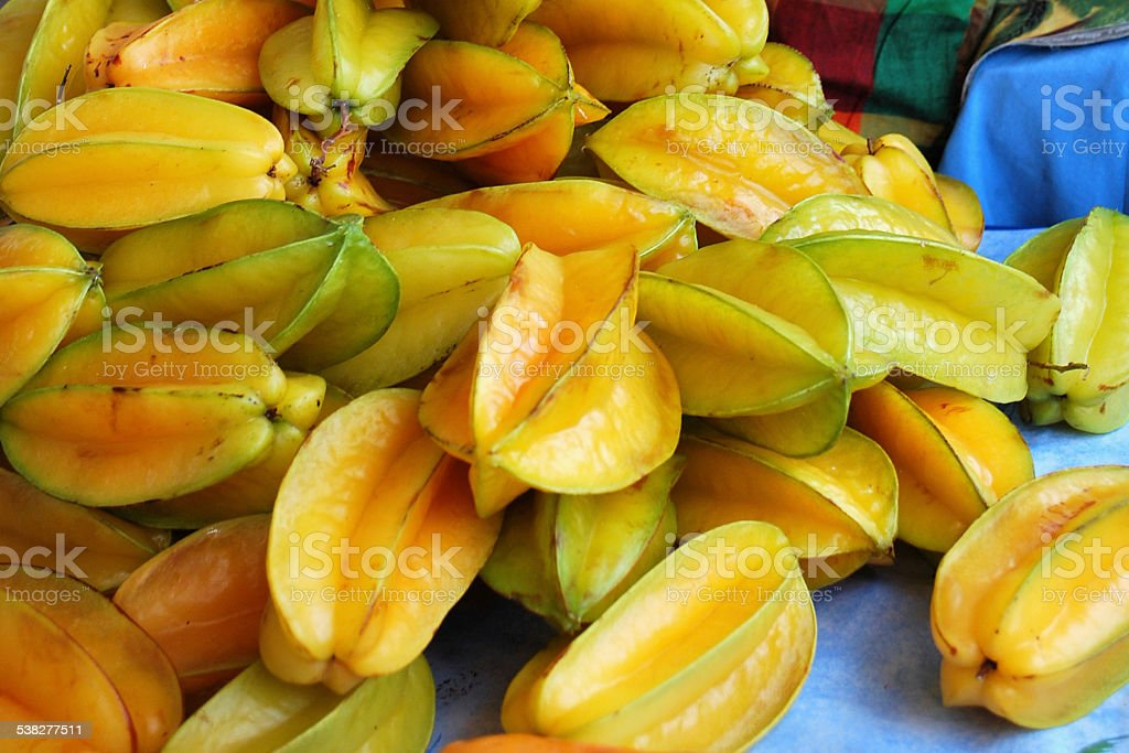 Star Fruits in Caribbean Market stock photo
