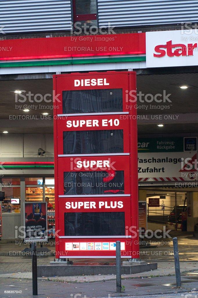 Berlin, Germany - November 15, 2016: Star gas station priceboard stock photo