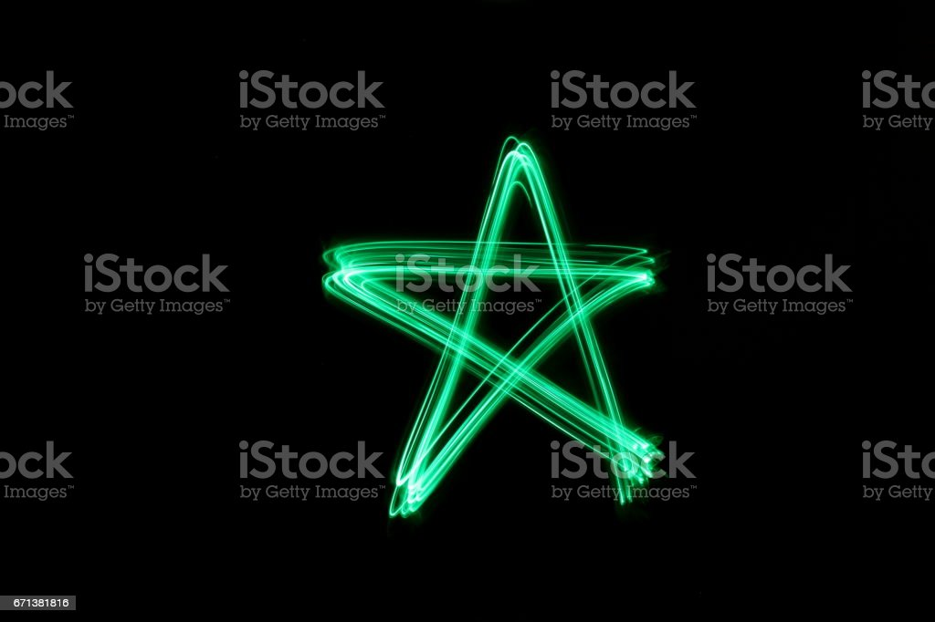 Star, Green Light Painting Photography stock photo