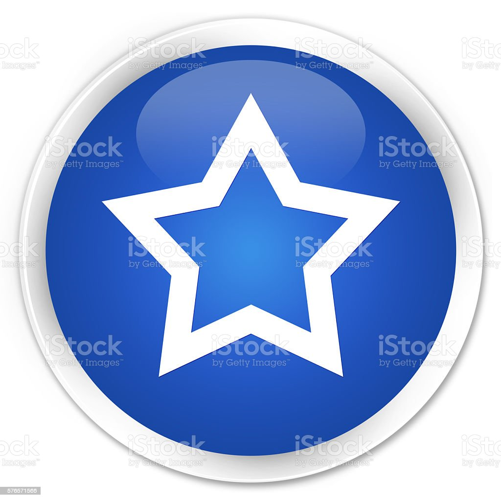 Star icon blue glossy round button stock photo