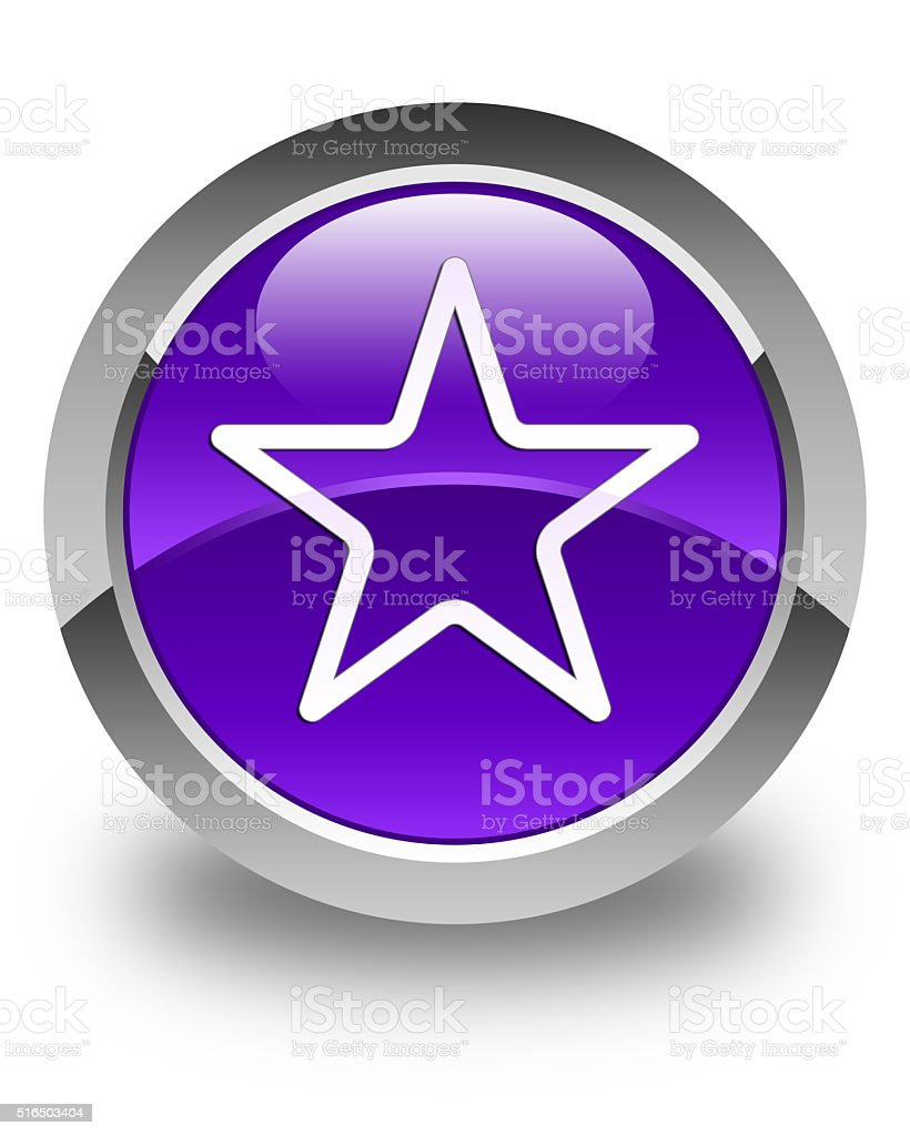 Star icon glossy purple round button stock photo