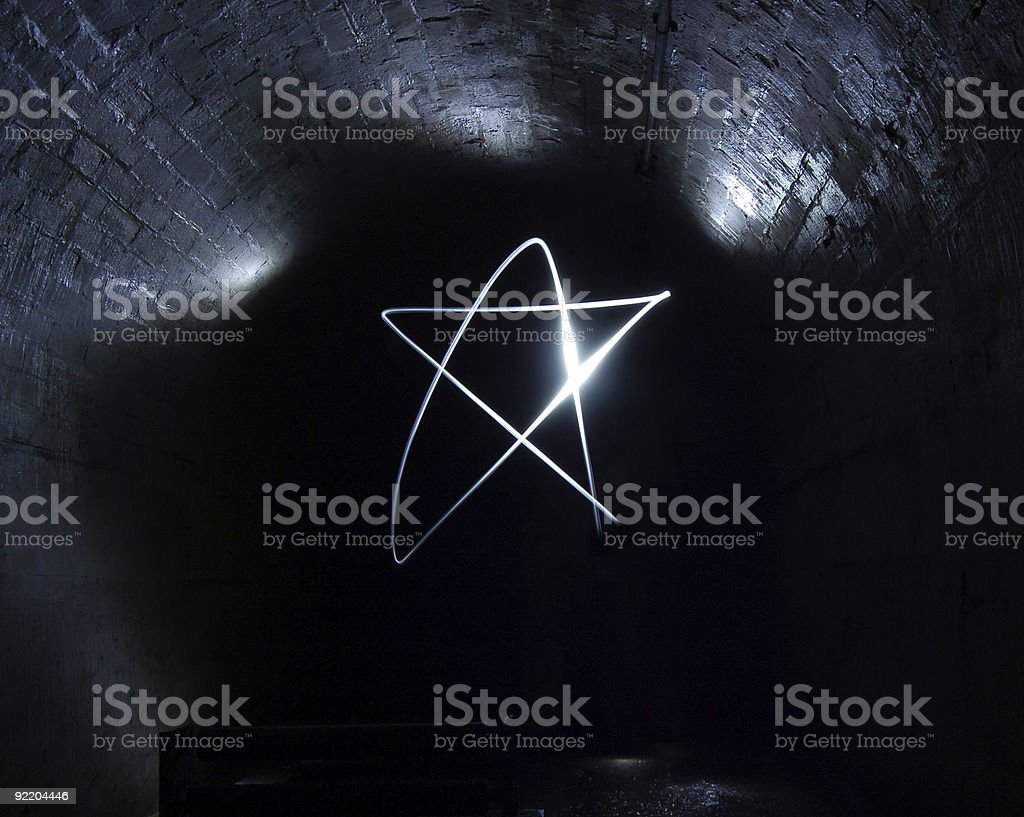 Star in the Night Sky, Lightpainting, Light Graffiti stock photo