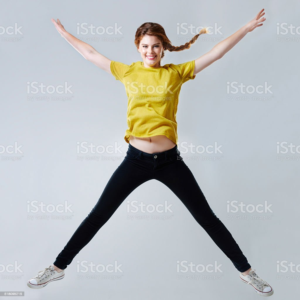 Star jumps! stock photo