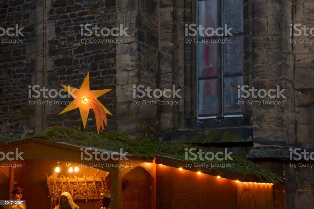Star of Bethlehem symbol on a christmas market stock photo