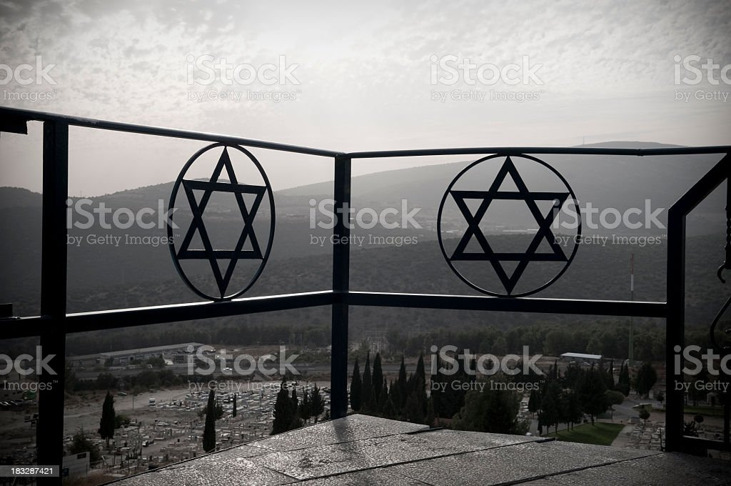 Star of David above cemetery in in Safed, Israel stock photo