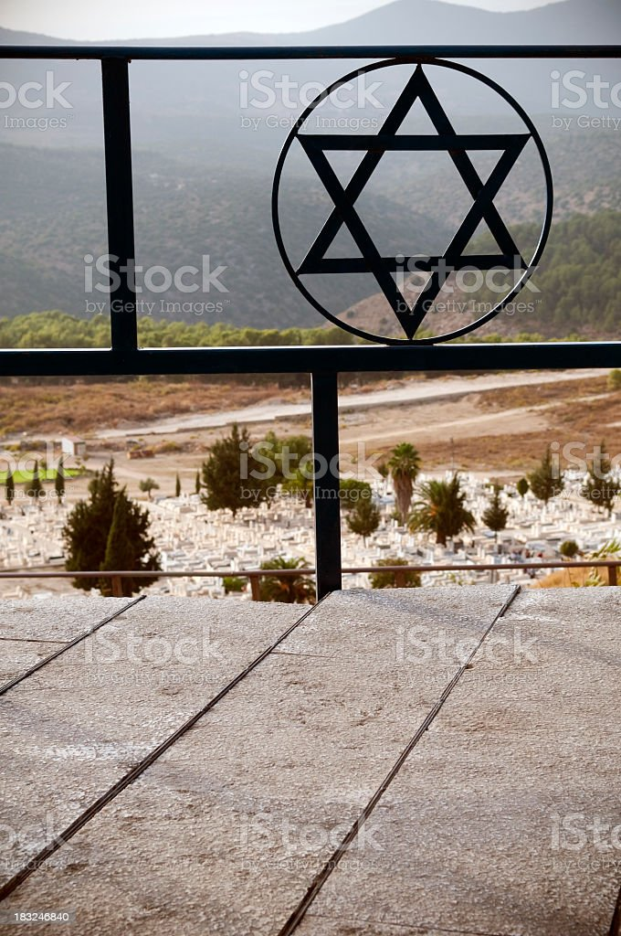 Star of David above Jewish cemetery in Safed, Israel stock photo