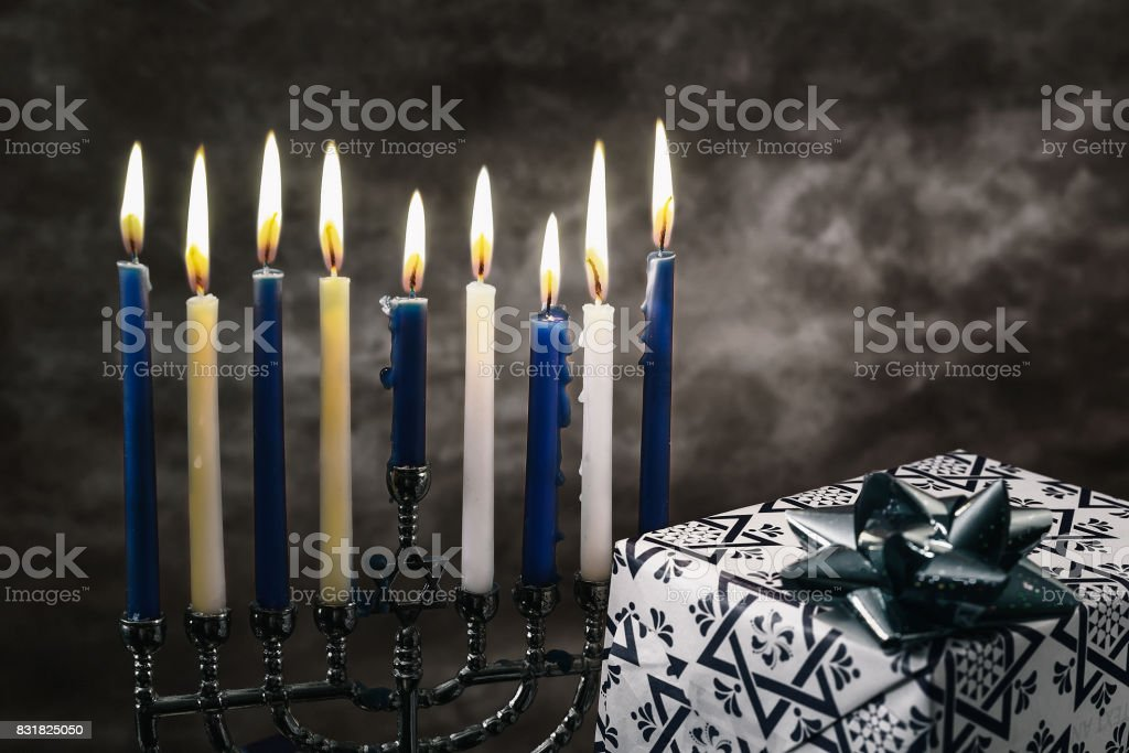 Star of David Hanukkah menorah stock photo