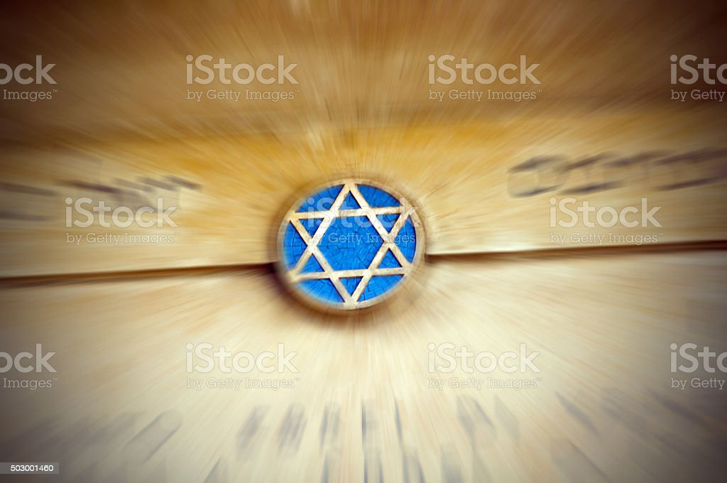 Star of David on exterion wall in Venice Ghetto- bokeh stock photo