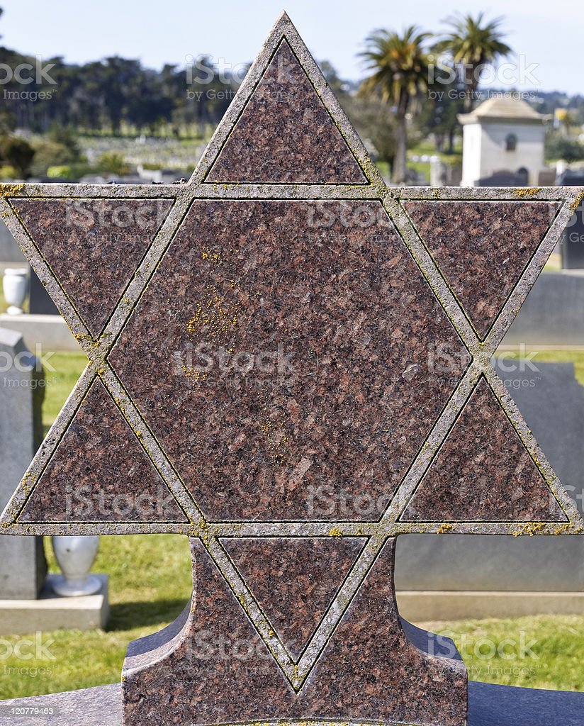 Star of David on granite tombstone royalty-free stock photo
