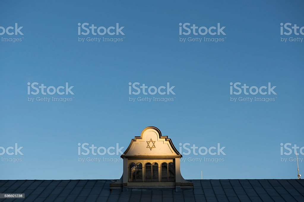 Star of David on synagogue in Kaunas, Lithuania stock photo