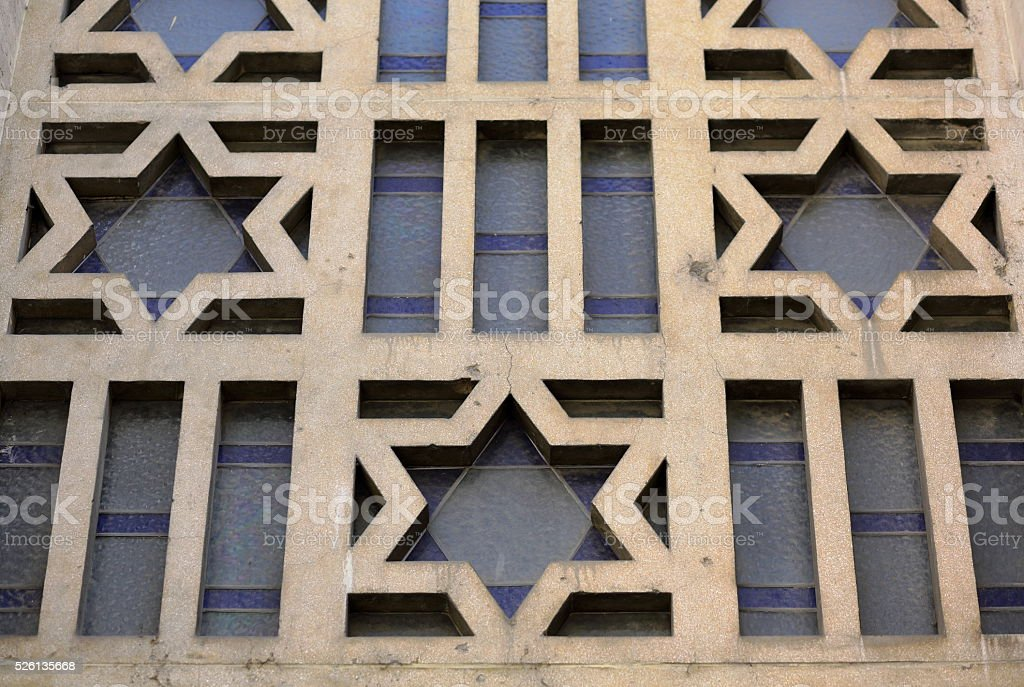 Star of David on synagogue stock photo