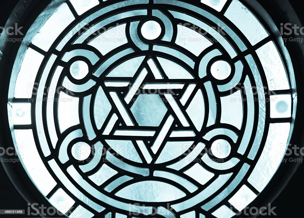 Star of David or Magen David Stainglass stock photo