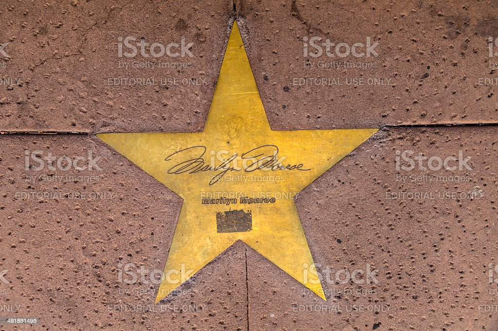 Star of Marilyn Monroe on sidewalk in Phoenix, Arizona. stock photo