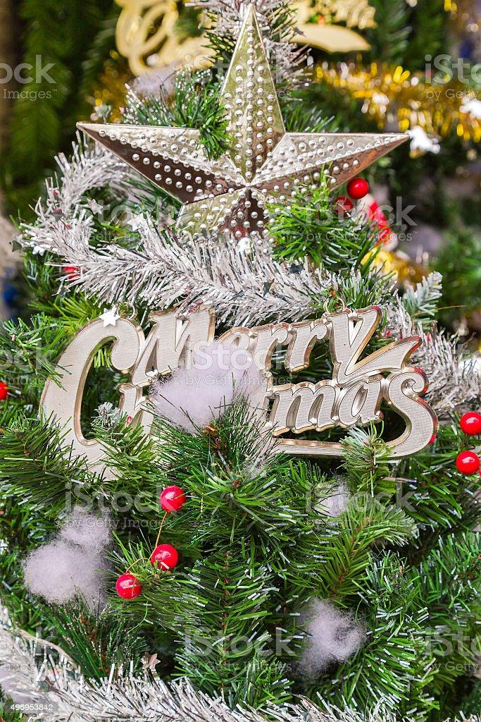 star on christmas tree stock photo