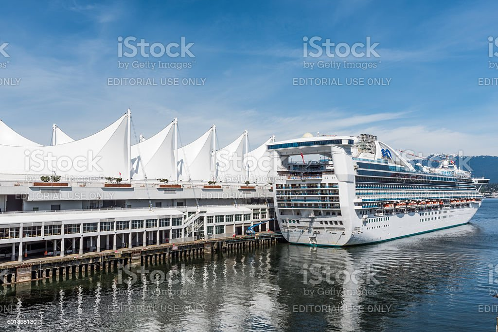 Star Princess cruise ship in city port in Canada Place stock photo