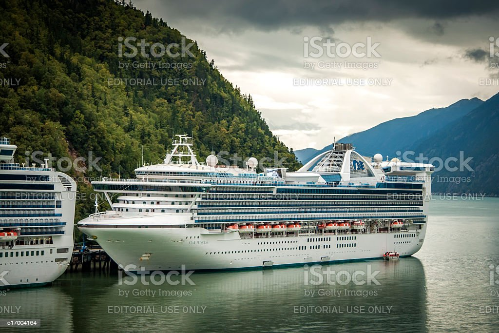 Star Princess docked in the port of Skagway, Alaska, USA stock photo