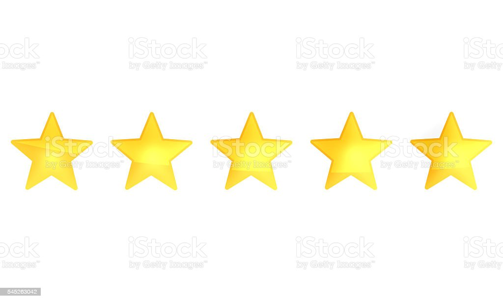 Star Rating zero up to five 3d render stock photo