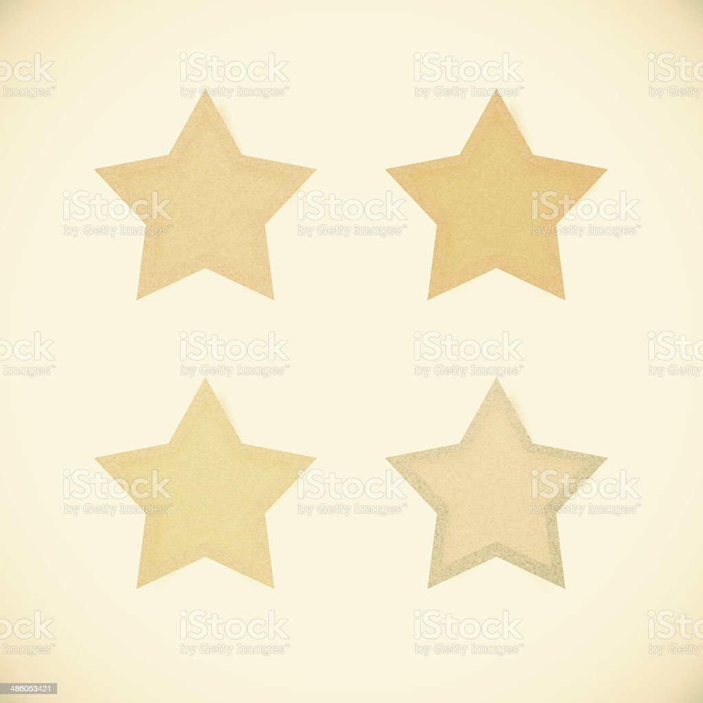 3D Star recycled paper on vintage tone background stock photo