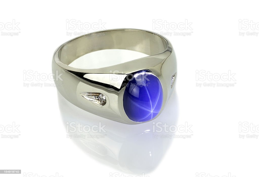 Star Sapphire with Diamond Ring royalty-free stock photo