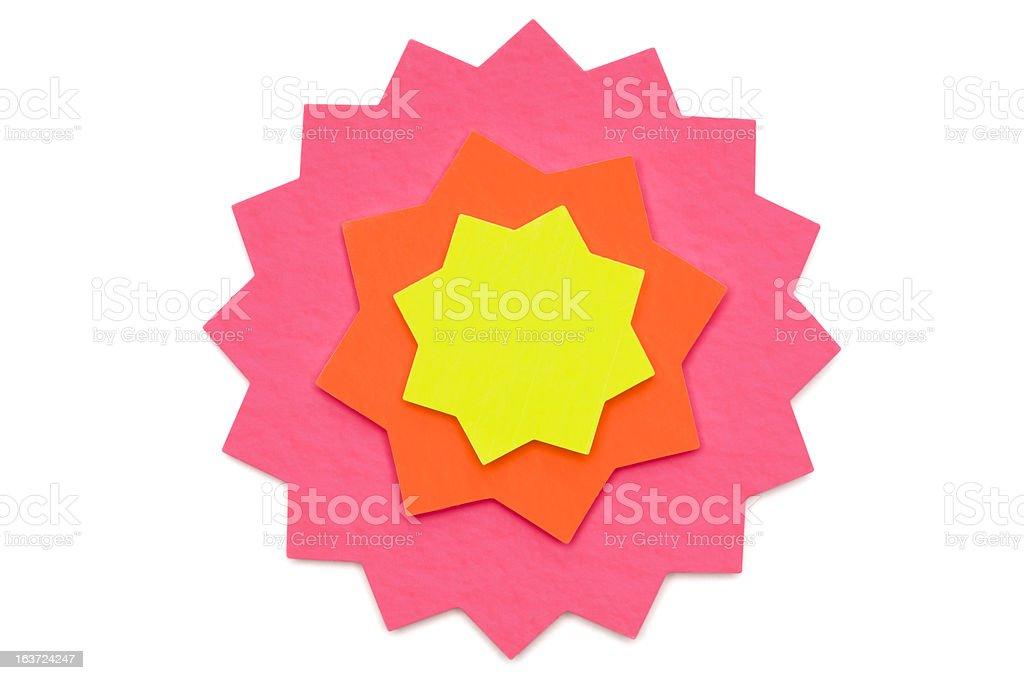 Star shape blank postit note on white royalty-free stock photo