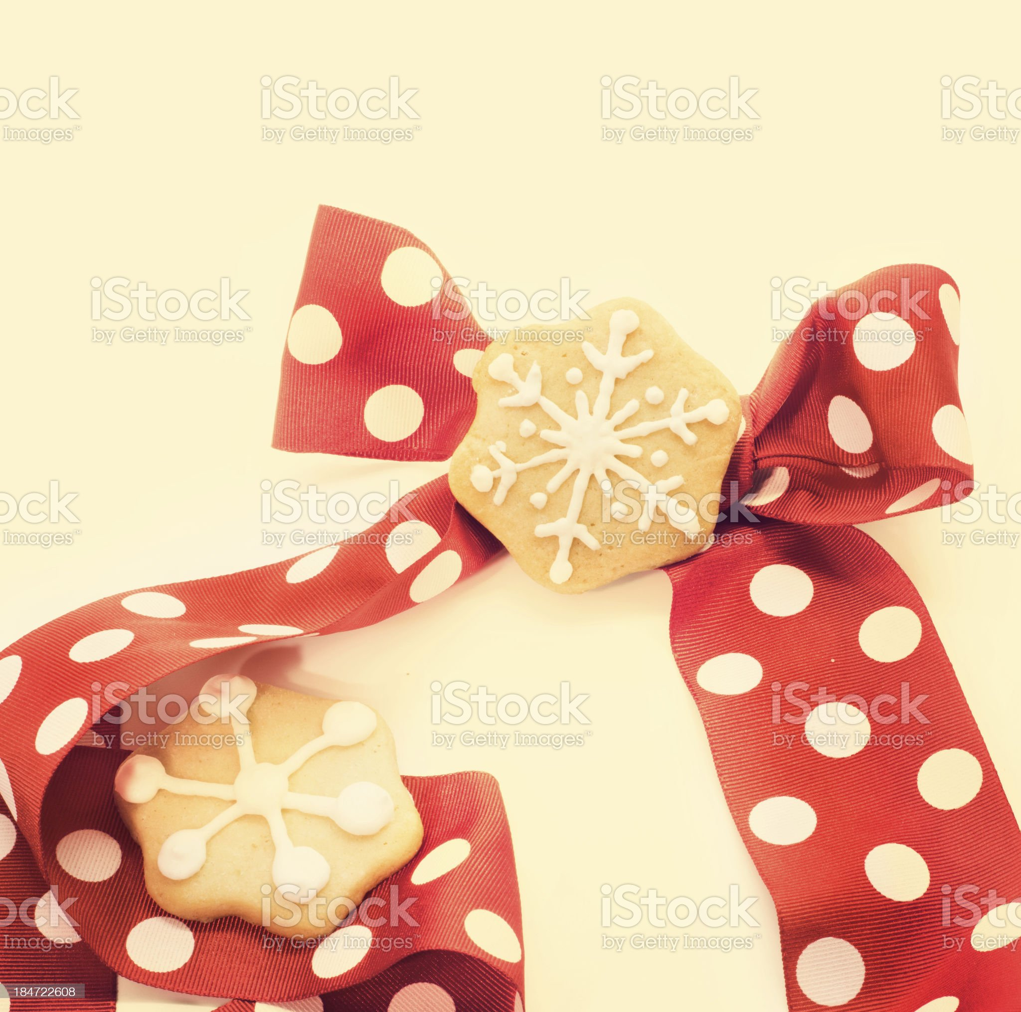 Star shape chrismtas gingerbread. Tie red with dots royalty-free stock photo