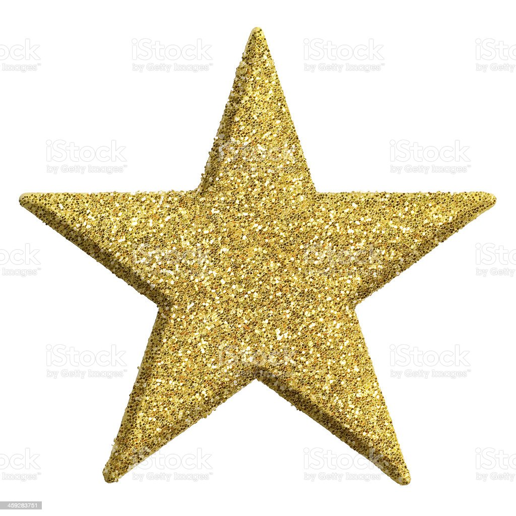 Star shape ornament in gold stock photo