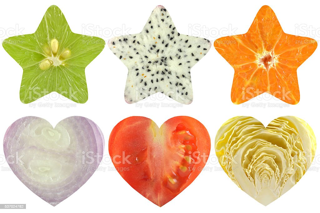 Star shaped and heart shaped fruit and vegetable stock photo