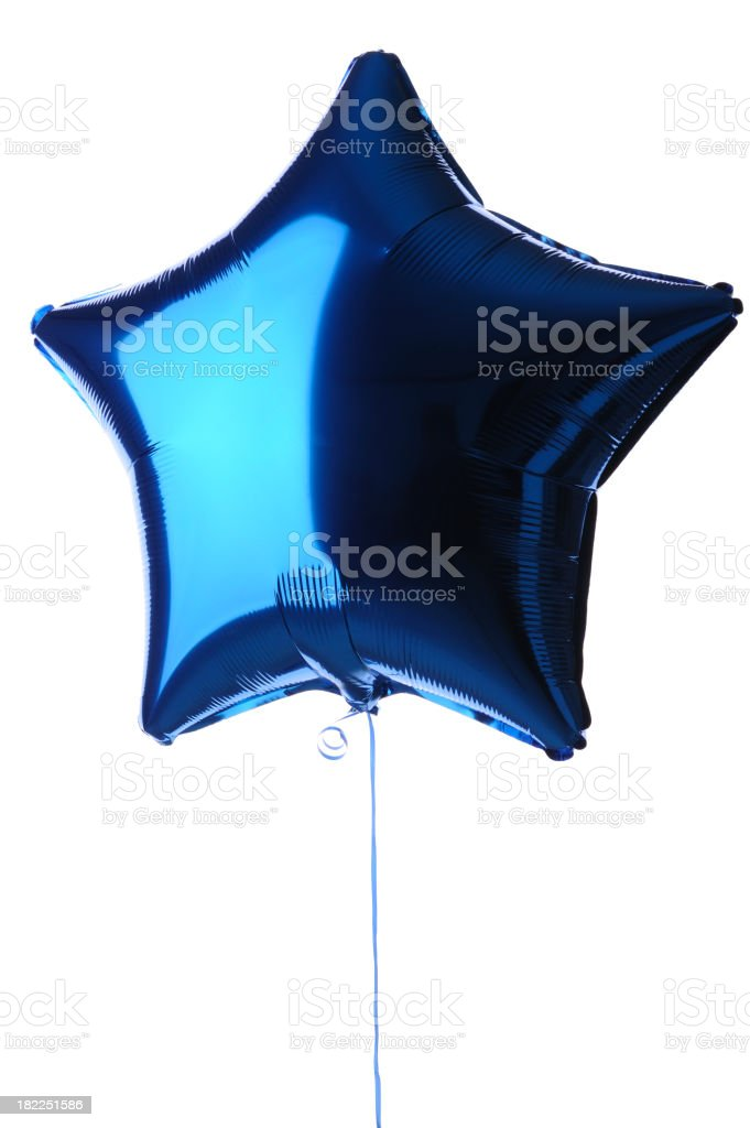 Star Shaped Blue Foil Balloon stock photo
