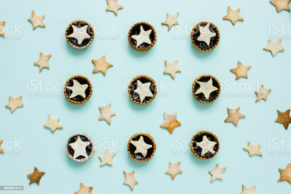 Star shaped cookies and tarts stock photo
