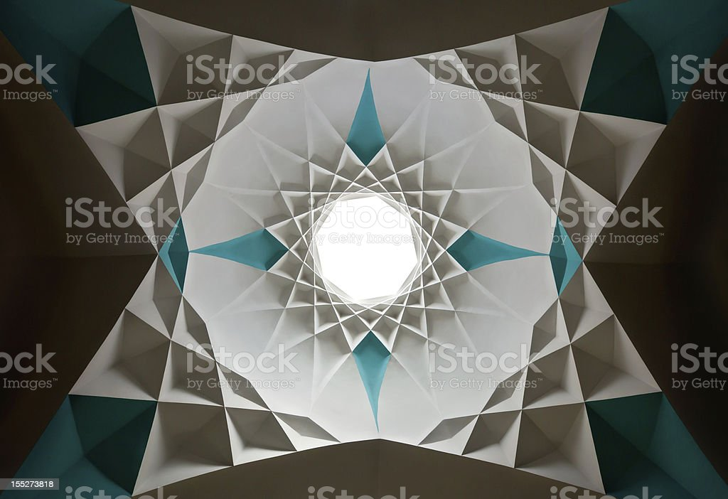 Star Shaped Islamic Design of Ceiling stock photo