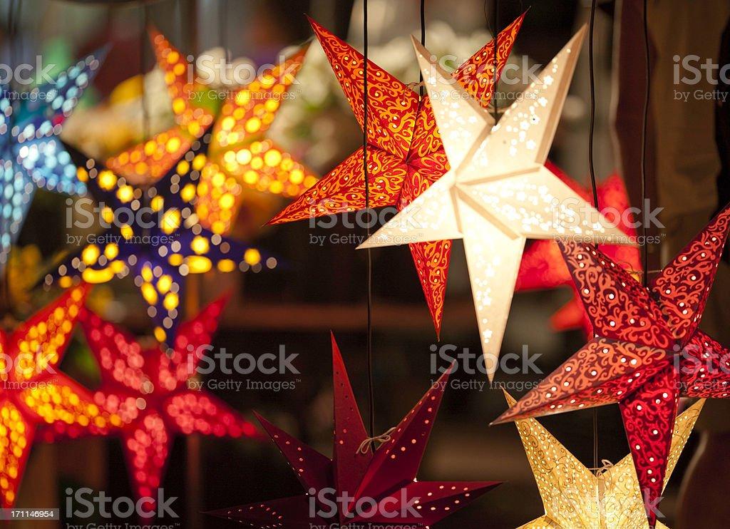 star shaped laterns, festively christmas decoration stock photo