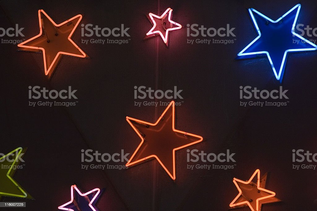 Star shaped neon lights royalty-free stock photo