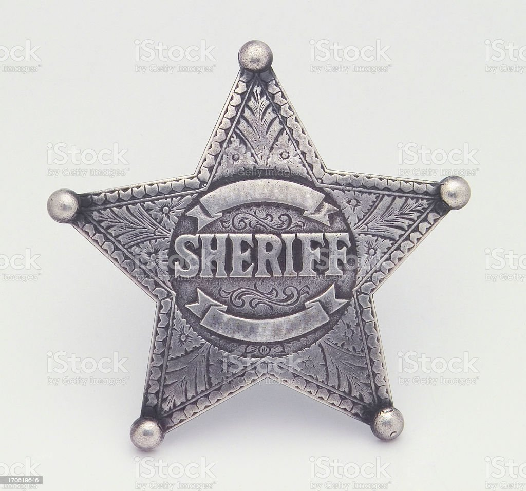 Star Shaped Sheriffs Badge, Badge, Star, Pin, Law stock photo