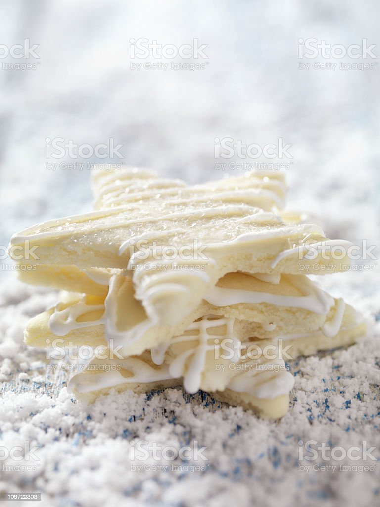 Star Shaped Sugar Cookies at Christmas Time stock photo