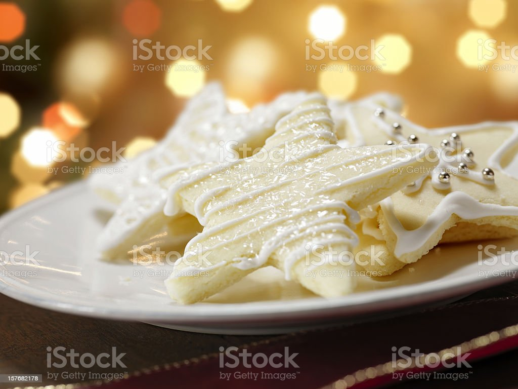 Star Shaped Sugar Cookies at Christmas Time royalty-free stock photo
