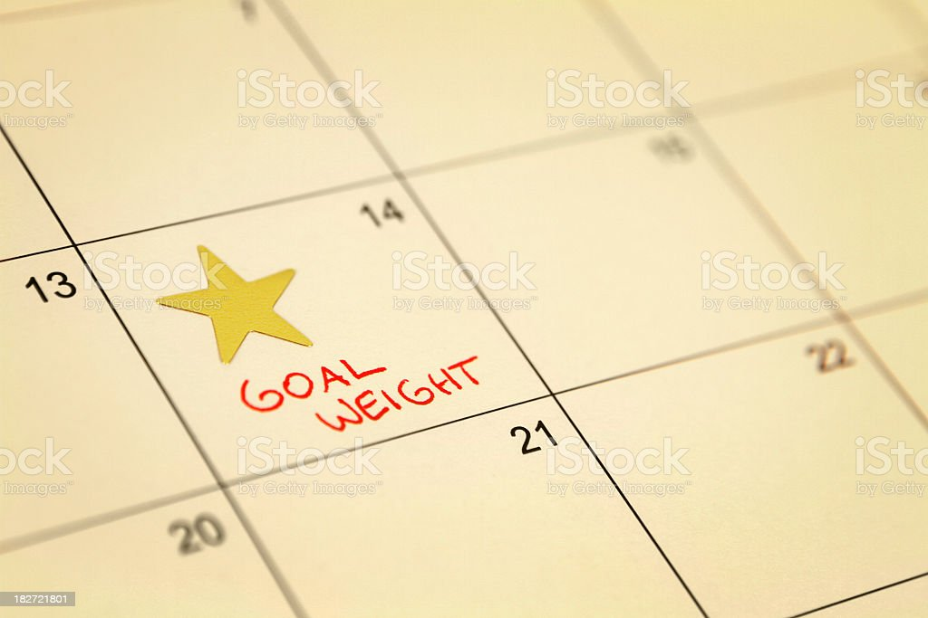 Star sticker and goal weight message on a calendar royalty-free stock photo