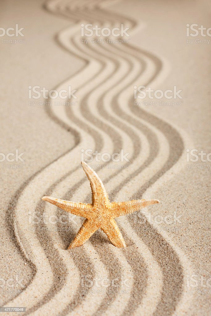 Star sticking out in the sand stock photo