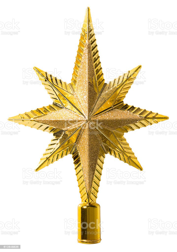 Star Top Decoration, Christmas Tree Topper Decorative Ornament, Isolated stock photo