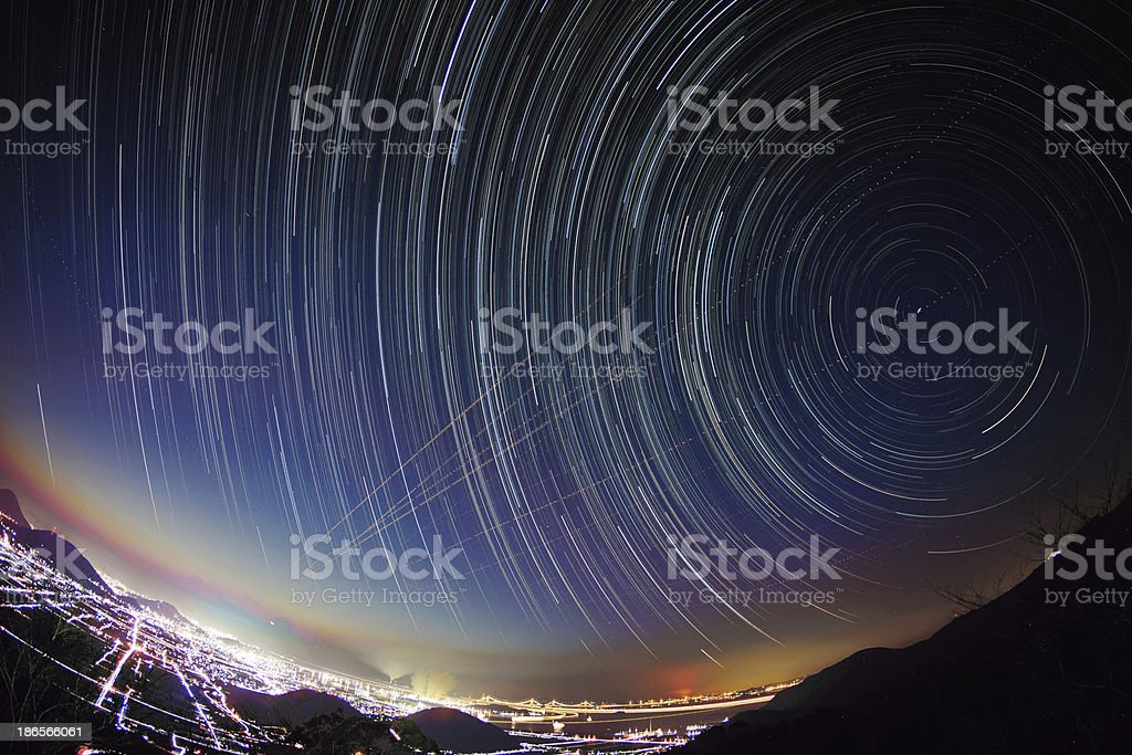 Star tracking from dusk to night stock photo