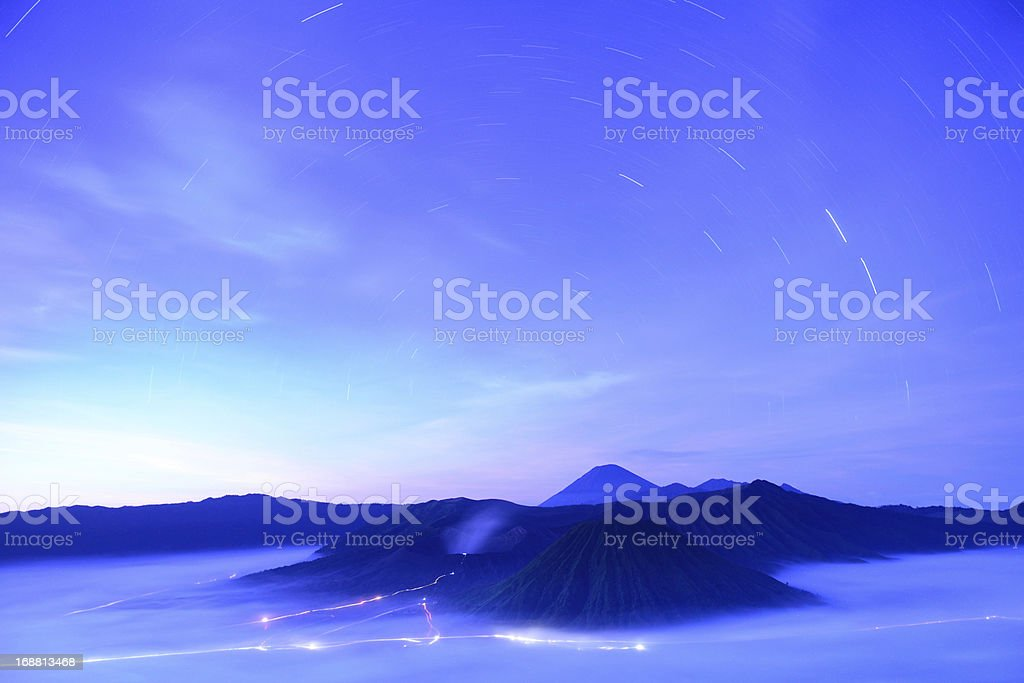 Star trail at Bromo volcano in Indonesia royalty-free stock photo